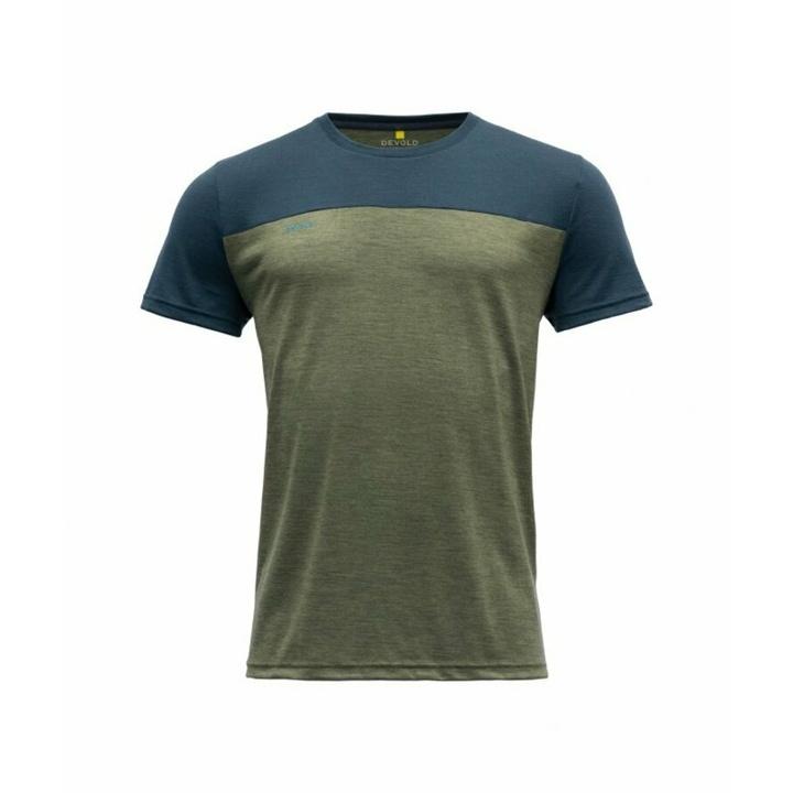Men's wool T-shirt with short sleeves Devold Keenrang GO 180 213 B 404A green