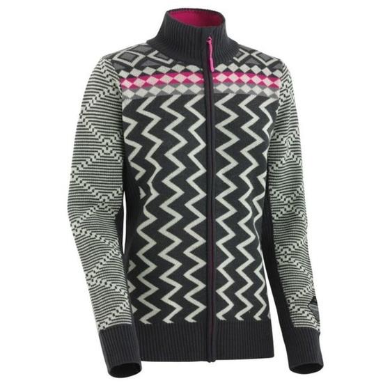 Woolen sweater Kari Traa Vinje F / Z Knit EBONY