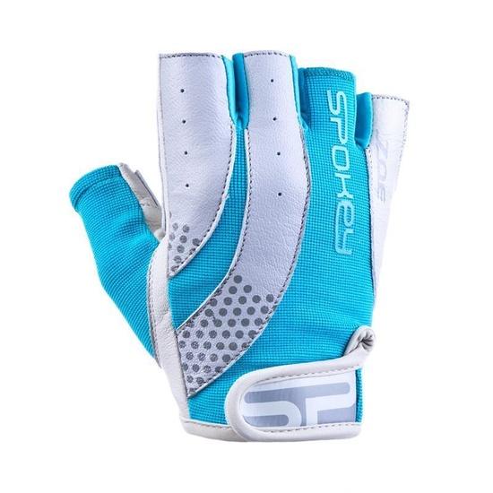 Women fitness gloves Spokey ZOE II white-turquoise