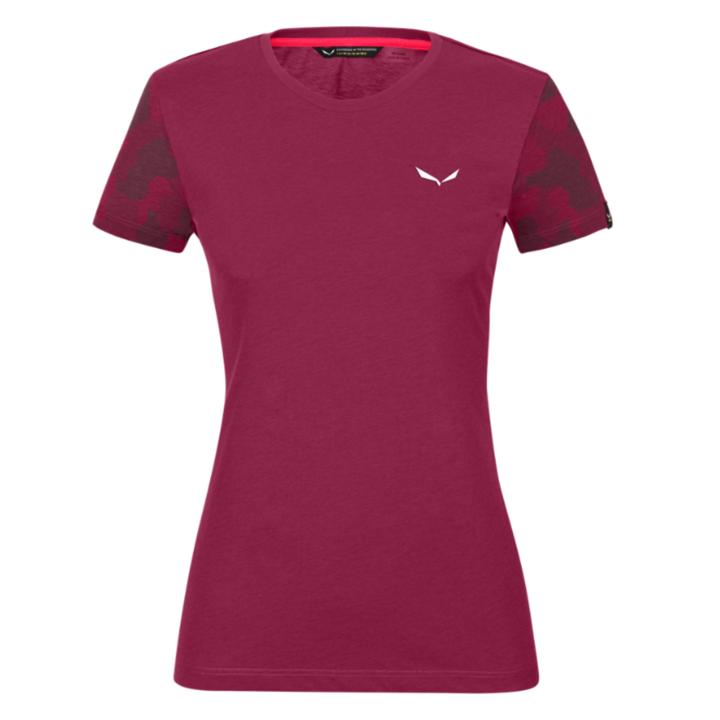 Women's T-shirt Salewa Camou Sleeve Dry rhodo red melange 28260-6368