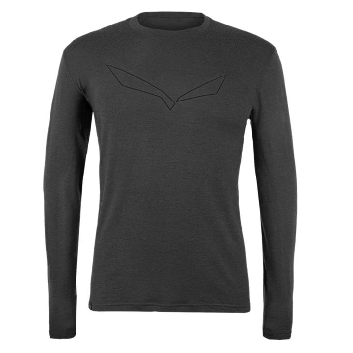 Men's T-Shirt Salewa Pure logo merino responsive long Sleeve Tee black out 28262-0910
