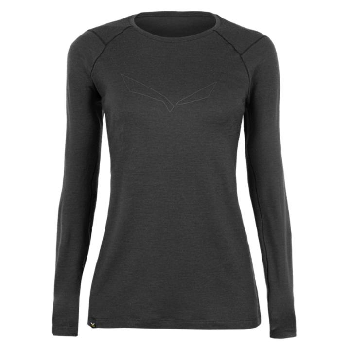Women's T-shirt Salewa Pure logo merino responsive long Sleeve Tee black out 28263-0910