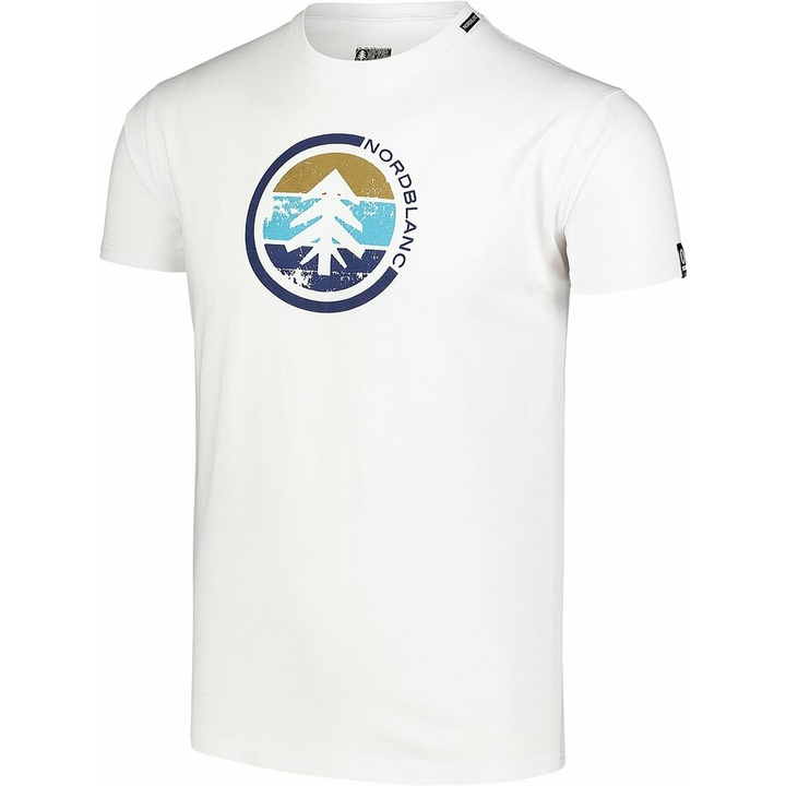 Men's cotton shirt Nordblanc TRICOLOR white NBSMT7397_BLA