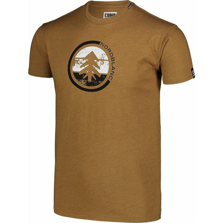 Men's cotton shirt Nordblanc TRICOLOR brown NBSMT7397_PUH