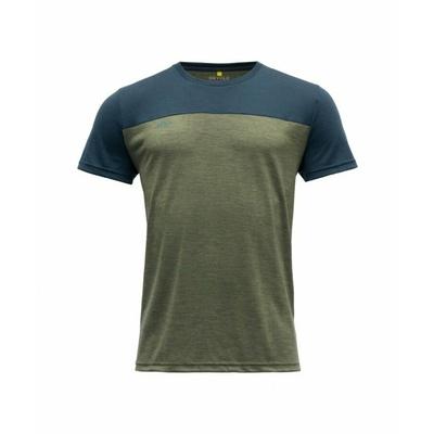 Men's wool T-shirt with short sleeves Devold Keenrang GO 180 213 B 404A green, Devold