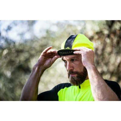 Cycling cap under helmet Rogelli RETRO, reflectively yellow-black 009.967, Rogelli