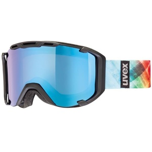 Ski glasses Uvex SNOWSTRIKE PM, black mat double lens / polavision litemirror blue / clear (2226), Uvex