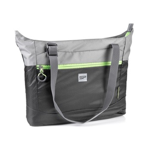 Folding bag Spokey HIDDEN LAKE gray, green zipper, Spokey