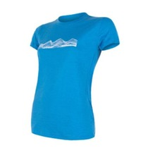 Women shirt Sensor Merino Active PT Mountains short sleeve blue 18100019, Sensor