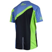 Loose cycling MTB jersey Rogelli ADVENTURE with short sleeve a with no pockets, blue-green 060.101., Rogelli