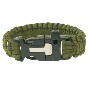 Bracelet HIGHLANDER Paracord trident / whistle / kerchief / olive, Highlander