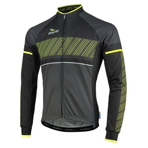 Bike jersey Rogelli RITMO with long sleeve, 001.255. black-reflective yellow, Rogelli