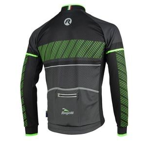 Bike jersey Rogelli RITMO with long sleeve, 001.256. black and green, Rogelli