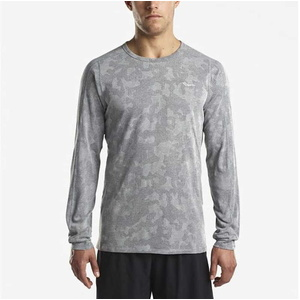 Men shirt with long sleeve Saucony Men Negative-Splt Jacquard Ls Dark Grey, Saucony