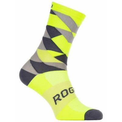 Design functional socks Rogelli SCALE 14, reflectively yellow-black-gray 007.152, Rogelli
