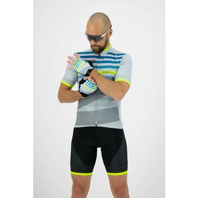 Cycling gloves Rogelli STRIPE, gray-turquoise-reflective yellow 006.311, Rogelli
