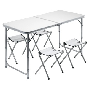 Table camping folding Cattara DOUBLE telescope. grey + 4x stool, Cattara