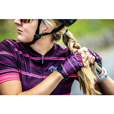 Women gloves to round Rogelli STRIPE, burgundy-pink 010.622, Rogelli