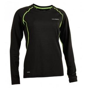 Women shirt Salming Balance LS Tee Women Black / Sharp Lime, Salming