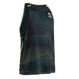 Men shirt Salming Breeze Tank Men Sharp Lime AOP / Deep Teal Melange, Salming