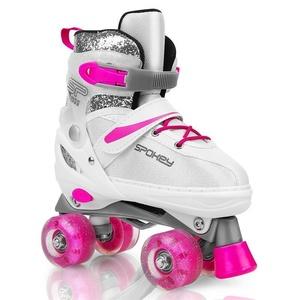 Spokey BUFF Trekking skates adjustable, ABEC 5, white-pink, size. 39-42, Spokey