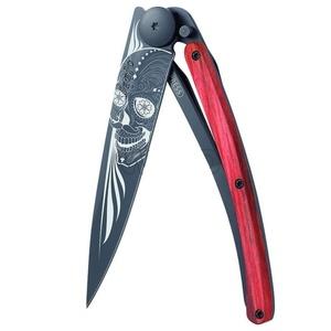 Pocket knife Deejo 1GB143 Black tattoo 37g, biker, red beech, Latino skull, Deejo