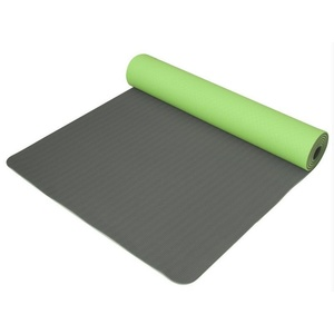 Mat to yoga Yoga Mat double-layer, material TPE green / gray, Yate