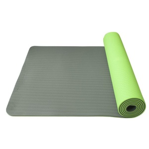 Mat to yoga Yoga Mat double-layer, material TPE green / gray, Yate