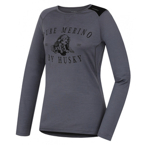 Women merino shirt Husky Puppy grey, Husky