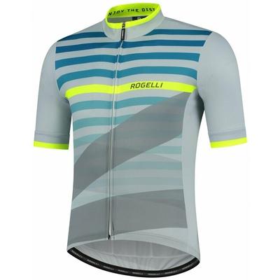 Bike jersey Rogelli STRIPE with short sleeve, gray-turquoise-reflective yellow 001.101, Rogelli