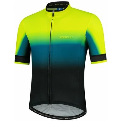 Design bike jersey Rogelli HORIZON with short sleeve, black-turquoise-reflective yellow 001.416, Rogelli