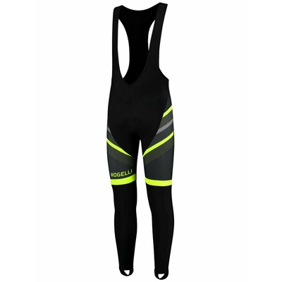 Strongly warm cycling pants Rogelli TEAM 2.0 with gel lining, black-reflective yellow 002.970