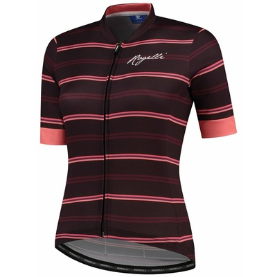 Women's cycling jersey Rogelli STRIPE with short sleeve, burgundy-coral 010.149, Rogelli