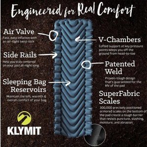 Inflatable sleeping pad Klymit Armored V Teal Blue, Klymit