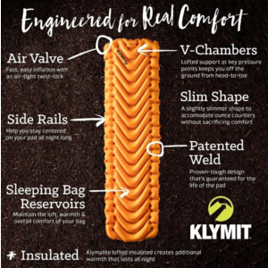 Inflatable sleeping pad Klymit Insulated V Ultralite ™ SL Orange, Klymit