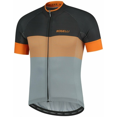 Aerodynamic competitive bike jersey Rogelli BOOST with short sleeve, gray-black-orange 001.119, Rogelli