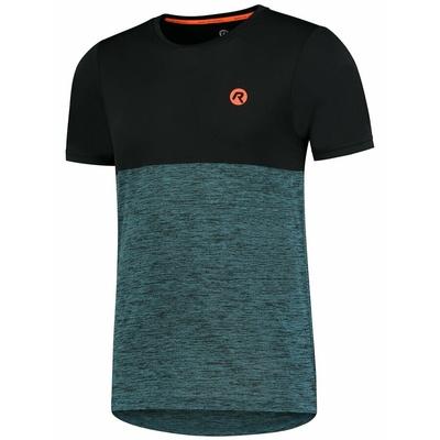 Men sports t-shirt Rogelli ESSENCE with short sleeve, black-turquoise 830.246, Rogelli