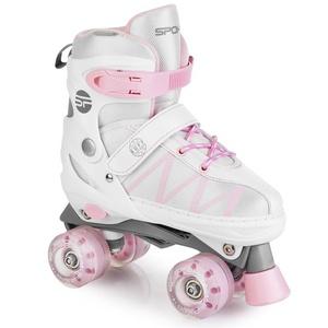 Trekking skates Spokey BUFF PRO adjustable white and pink, Spokey