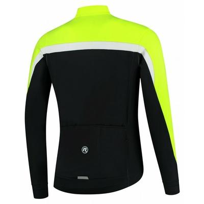 Men's warm cycling jersey Rogelli Course black-reflective yellow-white ROG351004, Rogelli