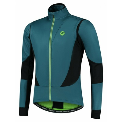 Men's softshell cycling jacket Rogelli Brave with breathable panels, blue-black-green ROG351026, Rogelli