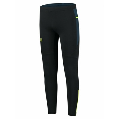 Men's insulated running trousers black-dark blue-reflective yellow ROG351101, Rogelli