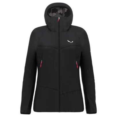 Women's winter jacket Salewa Ortles Tirolwool Responsive stretch hooded black out 28248-0910