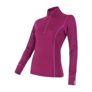 Women shirt with collar to zipper Sensor Merino Wool Active lila 12110030, Sensor