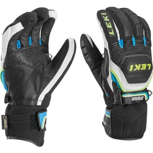 Gloves Leki Worldcup Race Coach Flex S GTX black-white-cyan-yellow 634-80133, Leki