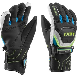 Gloves Leki Worldcup Race Coach Flex S GTX Junior black-white-cyan-yellow 634-80131, Leki