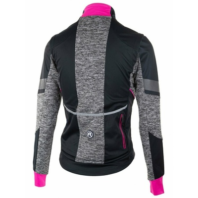 Women softshell cycling jacket Rogelli BLISS with breathable back work, black and gray-reflective pink 010.310, Rogelli