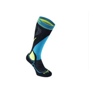 Knee socks BRIDGEDALE Vertige Racer Junior Black / Fluro yellow 076, bridgedale