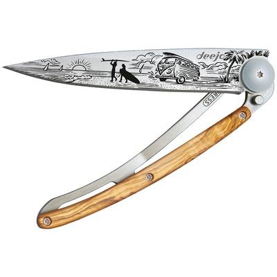 Pocket knife Deejo 1CB070 Tattoo 37g, Olive Wood, Van Life