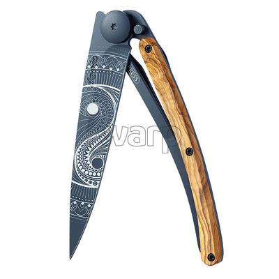 Pocket knife Deejo 1GB149 Tattoo black 37g, olivewood Yin & Yang, Deejo
