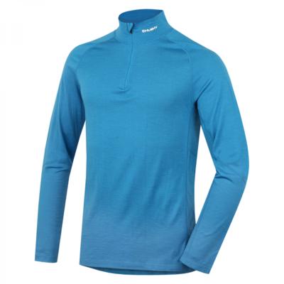 Men's thermo shirt dl. sleeve with zipper Husky Merino blue, Husky
